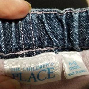 Children's Place 6-9mo denim fleece lined pants